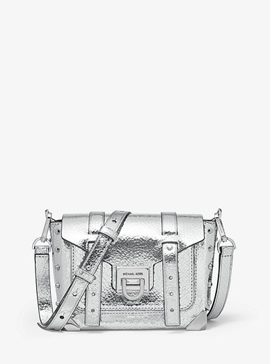Manhattan Small Crackled Metallic Leather Crossbody Bag