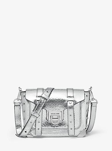 7c1aea3c97 Petit sac à bandoulière Manhattan en cuir métallisé craquelé