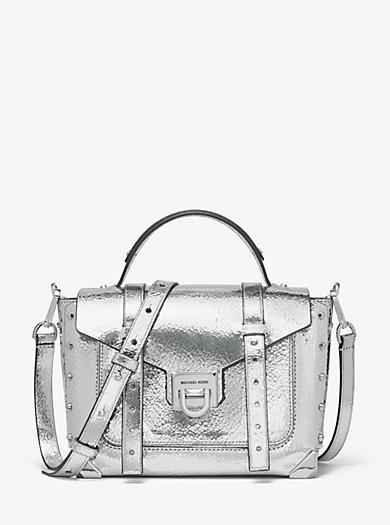 9cdb72a4c Bolso satchel Manhattan mediano de piel cuarteada metalizada. michael  michael kors ...