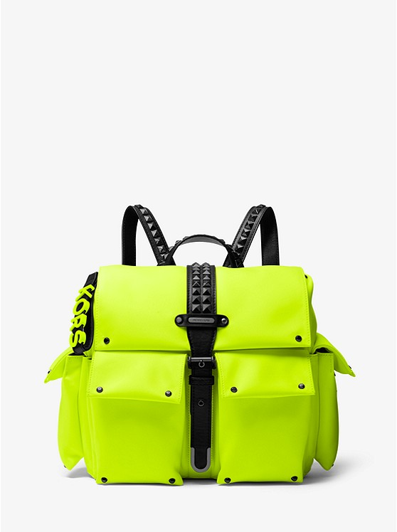 Olivia Medium Studded Neon Satin Backpack by Michael Michael Kors