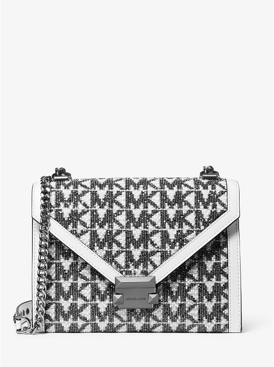 Whitney Large Beaded Logo Convertible Shoulder Bag by Michael Michael Kors