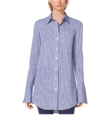 Gingham French Cuff Cotton Poplin Shirt Michael Kors