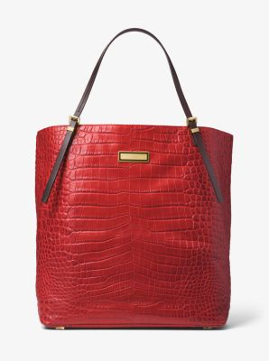 5701d9168a43 ... bag michael kors gia saddle leather and get gia large alligator  embossed leather tote michael kors d324b c4482 ...