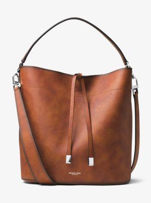 5b1393ae8989 Miranda Large Burnished Leather Shoulder Bag   Michael Kors