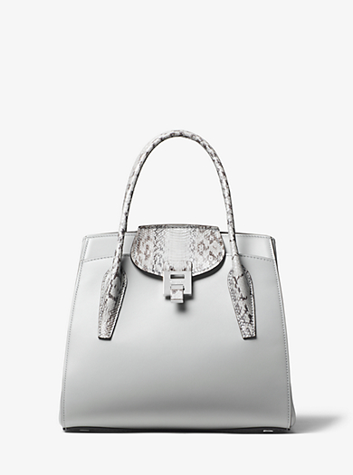 f6ebaa01a384 Bancroft Large Calf Leather and Snakeskin Satchel. QUICKVIEW. michael kors  collection ...