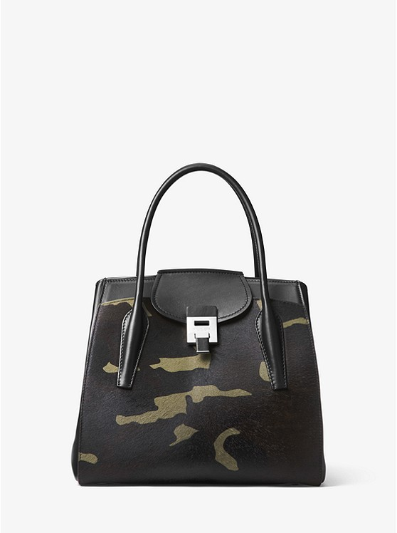 Bancroft Large Camouflage Calf Hair Satchel by Michael Kors Collection