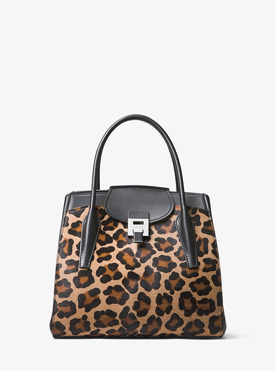 14a1422f7fd40 Bancroft Medium Leopard Calf Hair and Leather Satchel ...