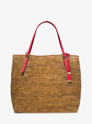 9863d76e90dab8 Santorini Large Raffia Tote Bag | Michael Kors