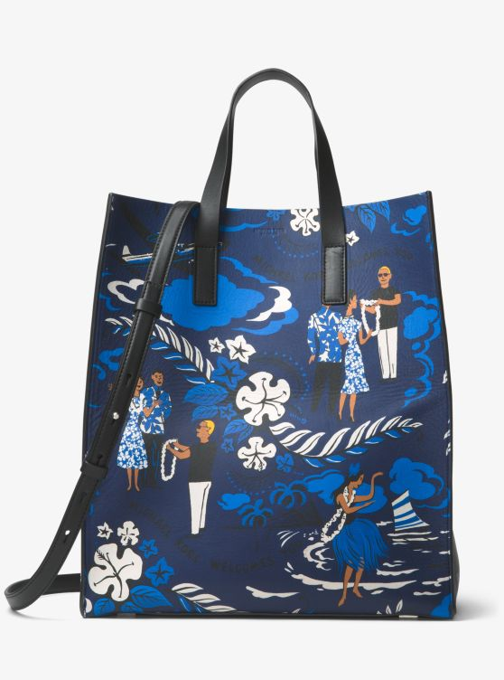 Prescott Tropical Welcome Print Leather Tote