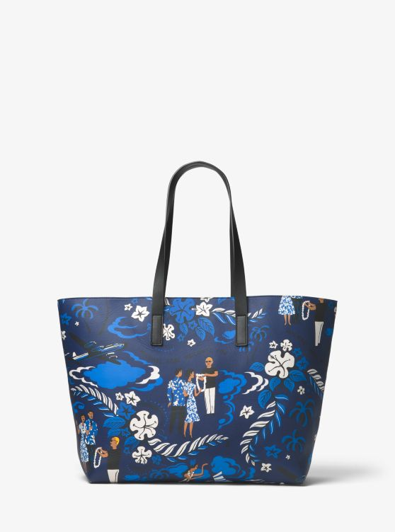 Prescott Large Tropical Welcome Print Leather Tote