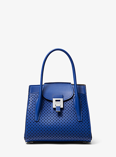 Bancroft Medium Perforated Calf Leather Satchel Michael Kors Collection
