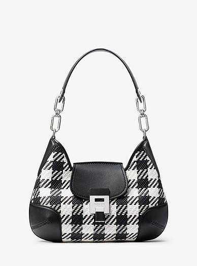 Bancroft Medium Gingham Woven Calf Leather Shoulder Bag ... 9e6ace94a07f3