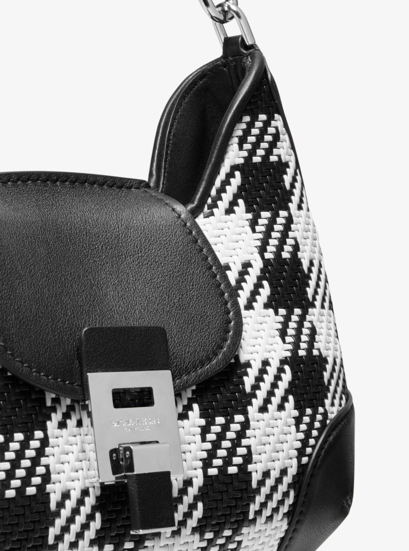 a644841aebbe4a Bancroft Medium Gingham Woven Calf Leather Shoulder Bag   Michael Kors
