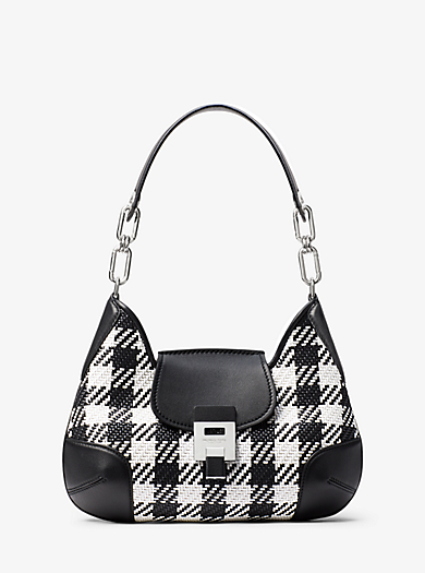 1851327f968b Bancroft Medium Gingham Woven Calf Leather Shoulder Bag · michael kors  collection ...