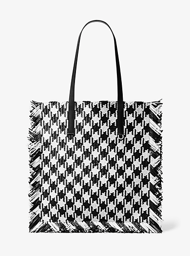 01006d5aee797d Maldives Large Gingham Woven Leather Tote Bag. michael kors collection ...