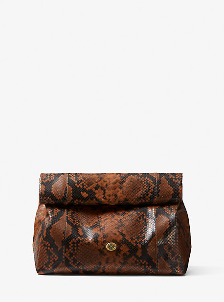 마이클 코어스 클러치 Michael Kors Monogramme Python Embossed Lunch Bag Clutch