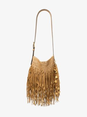 0d82f210a882 Antibes Fringed Raffia And Suede Messenger Bag | Michael Kors