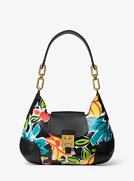 5891298c2028 Bancroft Medium Floral Calf Leather Shoulder Bag · michael kors collection  ...