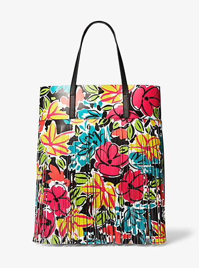 8e3a5be7a811 Ursula Medium Floral Fringed Calf Leather Tote Bag. michael kors collection  ...