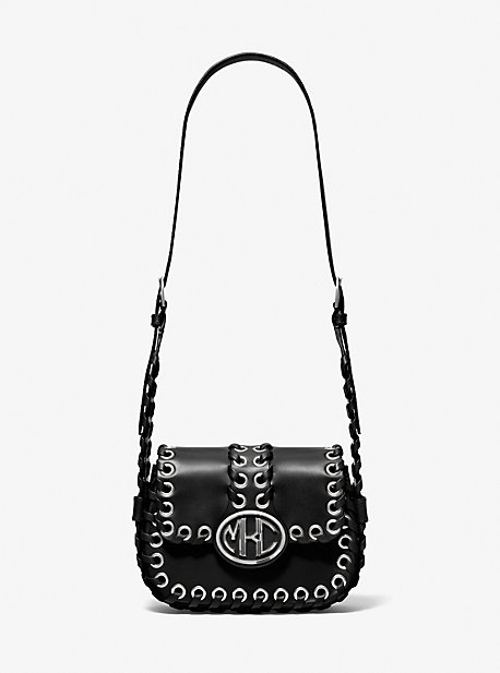마이클 코어스 모노그램백 스몰 Michael Kors Monogramme Small Whipstitch Leather Shoulder Bag,BLACK