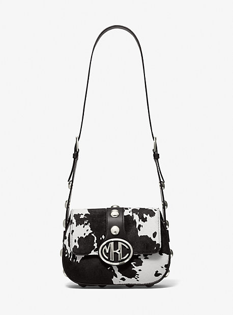 마이클 코어스 모노그램백 스몰 Michael Kors Monogramme Small Pony Print Calf Hair Shoulder Bag,IVORY/BLACK