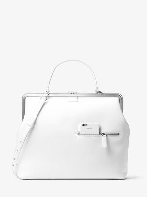 Angela Large French Calf Leather Top-Handle Bag