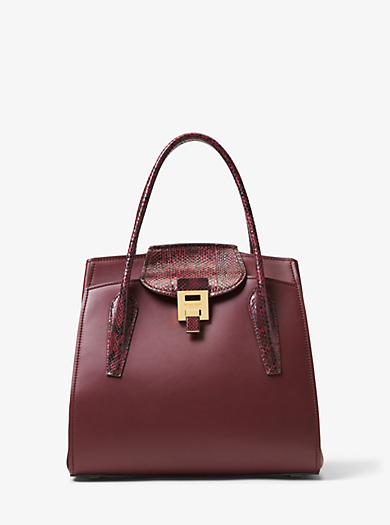 99407e61fa Bancroft Large Calf Leather and Snakeskin Satchel. michael kors ...