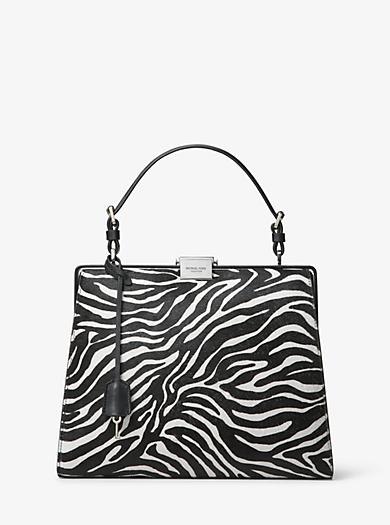 ffa74c3356 Simone Zebra Calf Hair Top-Handle Bag. michael kors collection ...