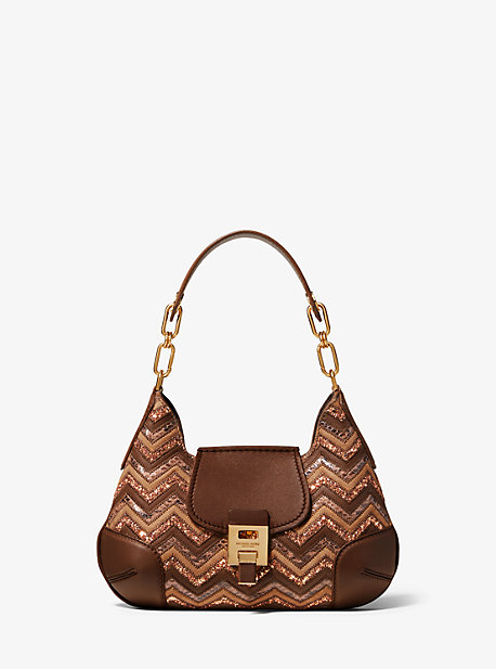 88b2509a95e5 Bancroft Small Chevron Calf Leather and Glitter Shoulder Bag. michael kors  ...