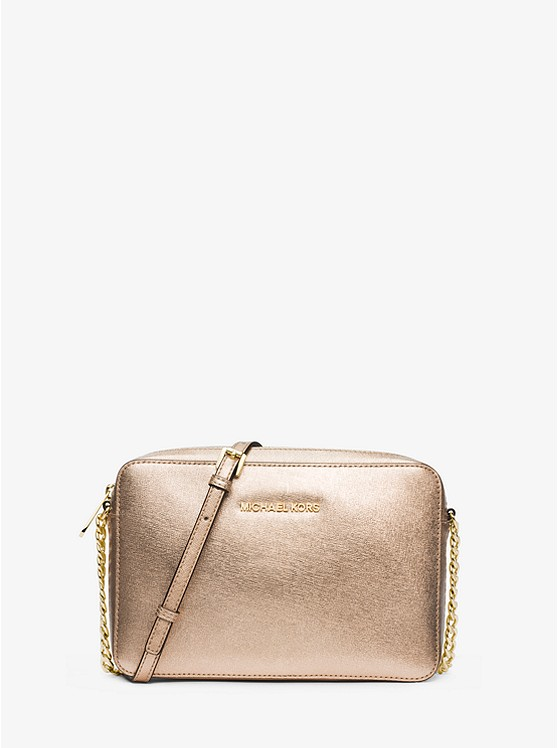 Jet Set Travel Metallic Saffiano Leather Crossbody ...