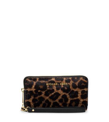 92a5340acbe5 Jet Set Travel Large Leopard Calf Hair Smartphone Wristlet | Michael Kors