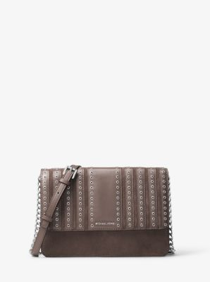 b11ef938c7dc Brooklyn Large Grommet Suede and Leather Crossbody | Michael Kors