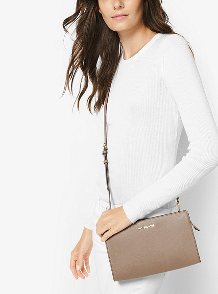 Jet Set Large Saffiano Leather Convertible Crossbody Bag
