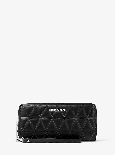 2eb37cd19d36 Quilted-Leather Continental Wristlet. michael michael kors ...