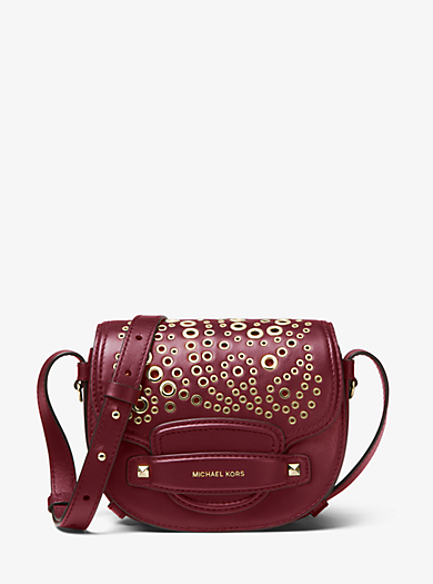 Cary Small Grommeted Leather Saddle Bag Michael Kors