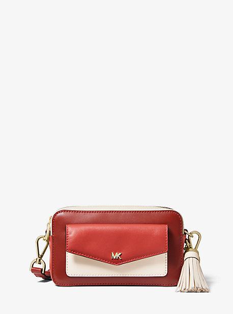 5f86e665eb6946 Small Tri-Color Leather Camera Bag | Michael Kors