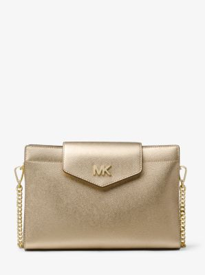 Large Metallic Crossgrain Leather Crossbody Clutch by Michael Kors