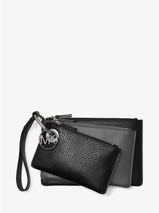 a84ab04108859 Two-tone Leather Pouch Trio