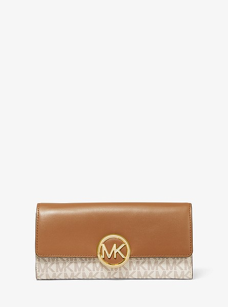 Lillie Large Logo and Leather Wallet