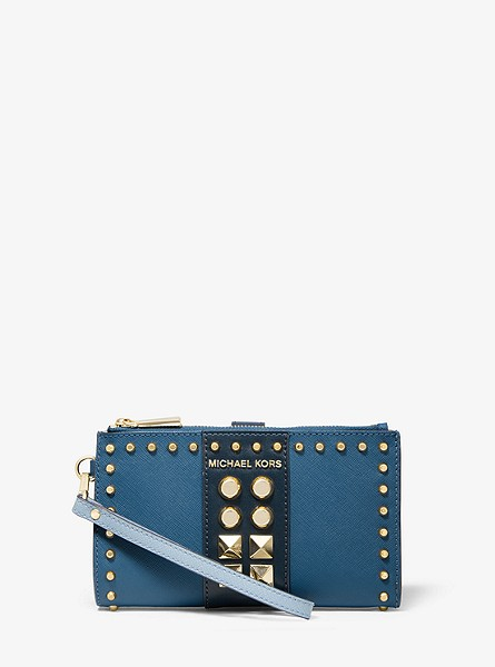 Adele Studded Tri-Color Saffiano Leather Smartphone Wallet
