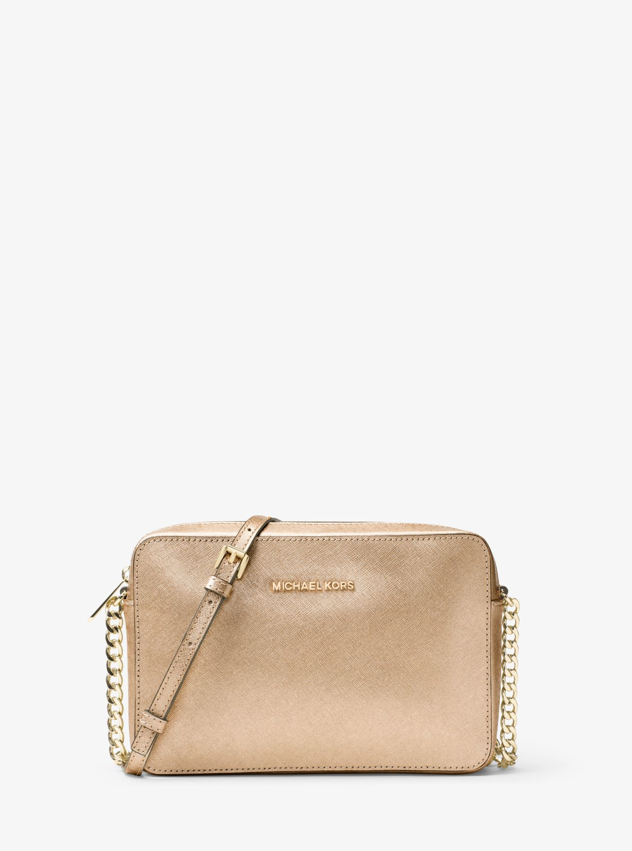 Michael Kors Laukut Pori : Jet set travel large metallic leather crossbody michael kors
