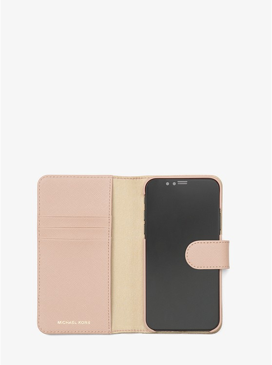 save off 6211b 1147b Saffiano Leather Folio Phone Case for iPhone X