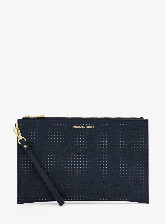 Jet Set Extra Large Perforated Leather Clutch by Michael Michael Kors