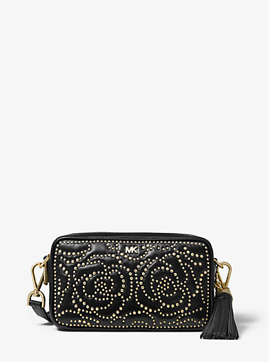 Small Rose Studded Leather Camera Bag Michael Kors