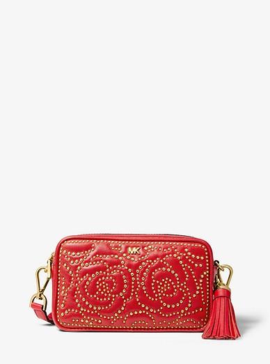 182733eb0 Small Rose Studded Leather Camera Bag | Michael Kors