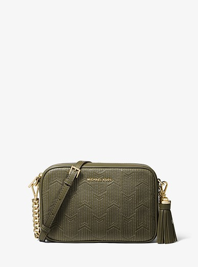 a40acf16780b Ginny Medium Deco Quilted Leather Crossbody Bag | Michael Kors