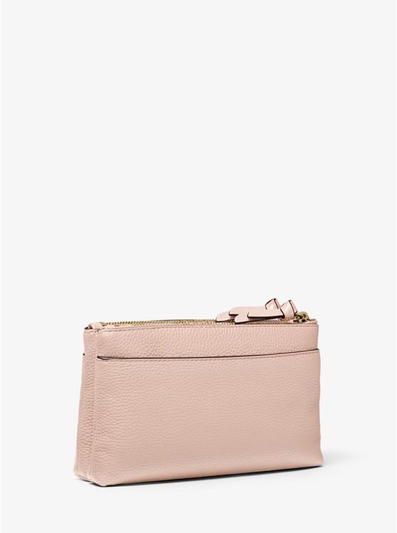 Medium Pebbled Leather Double-Zip Crossbody Bag