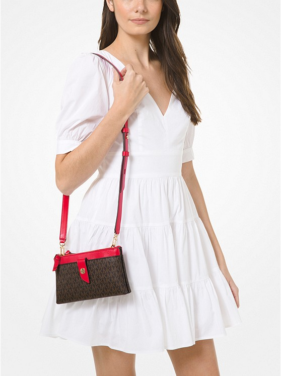 Medium Logo Double-Zip Crossbody Bag