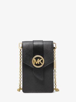 마이클 마이클 코어스 Michael Michael Kors Small Saffiano Leather Smartphone Crossbody Bag,BLACK