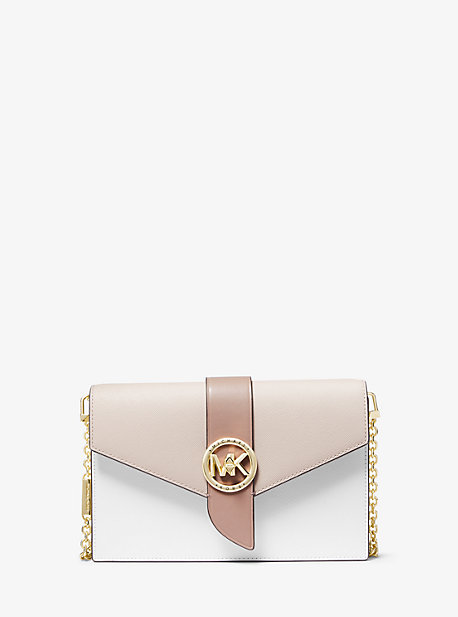 마이클 마이클 코어스 크로스백 미디움 Michael Michael Kors Medium Color-Block Leather Crossbody Bag,LT SAND MLTI